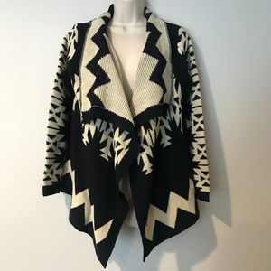 Luxe S/M Black and White Open Cardigan Sweater